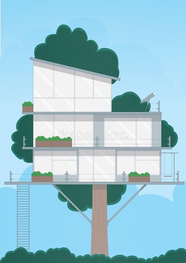 Modernt glashus på träd royaltyfri foto