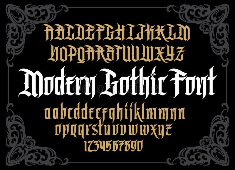 Modernt gotiskt alfabet för vektor i ram vektor illustrationer