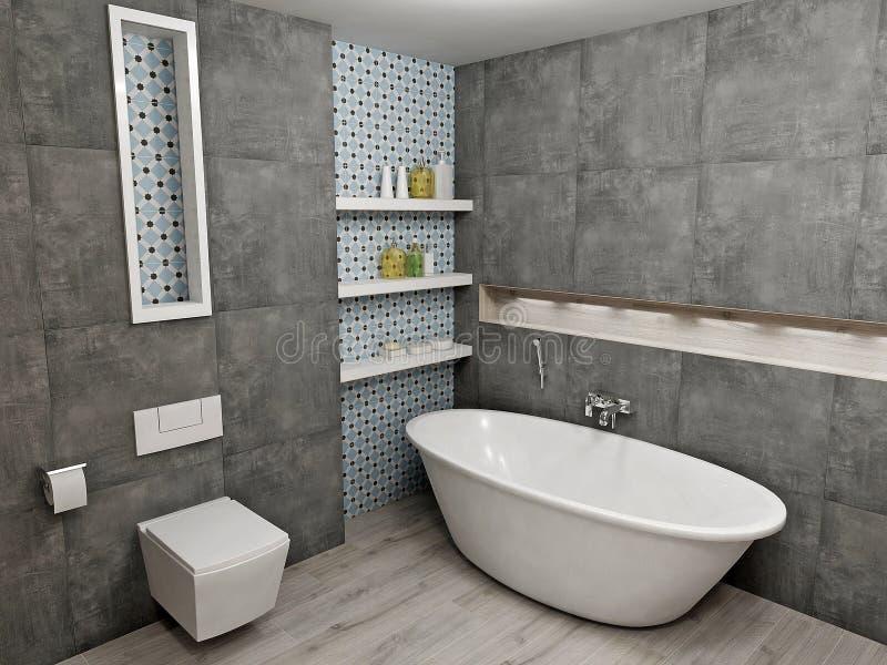 Modernt grått badrum stock illustrationer. Illustration av hälsa ...