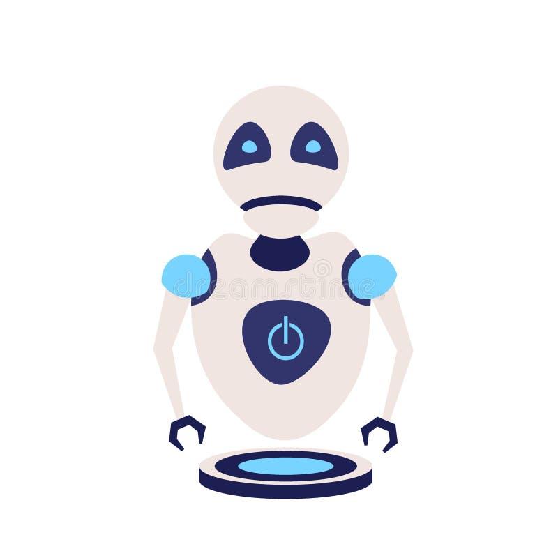 Modernt gulligt begrepp för hjälp för teknologi för framtid för konstgjord intelligens för robot som isoleras framlänges royaltyfri illustrationer