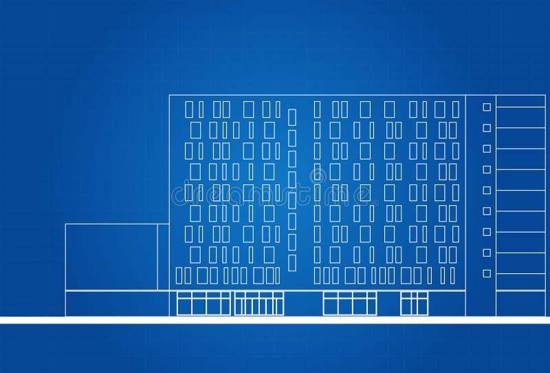 Modernt hotell som bygger den arkitektoniska ritningen royaltyfri illustrationer