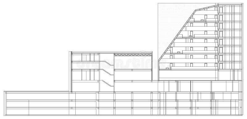 Modernt hotell som bygger den arkitektoniska ritningen stock illustrationer