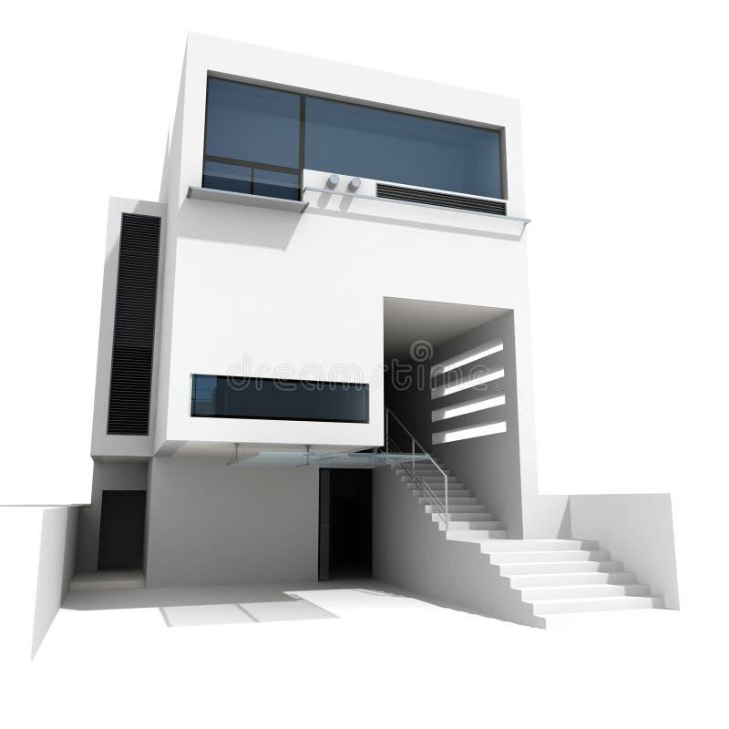 modernt hus 3d royaltyfri illustrationer