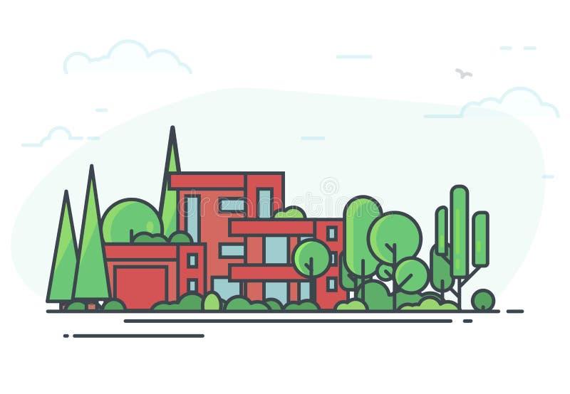 Modernt hus i skogen stock illustrationer