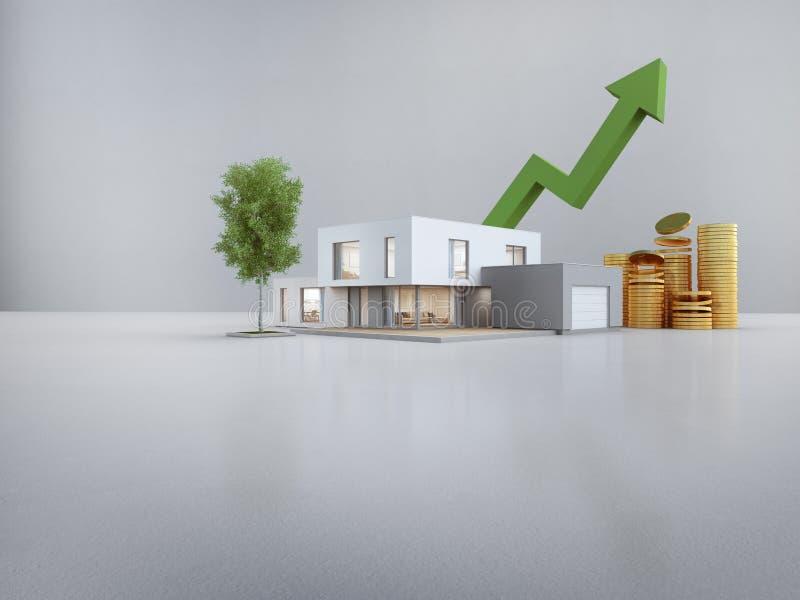 Modernt hus på det vita golvet med tom betongväggbakgrund i fastighetförsäljning eller egenskapsinvesteringbegrepp royaltyfri illustrationer