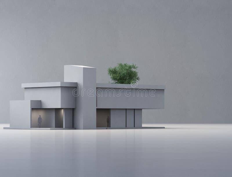 Modernt hus p? det vita golvet med tom betongv?ggbakgrund i fastighetf?rs?ljning eller egenskapsinvesteringbegrepp royaltyfri illustrationer