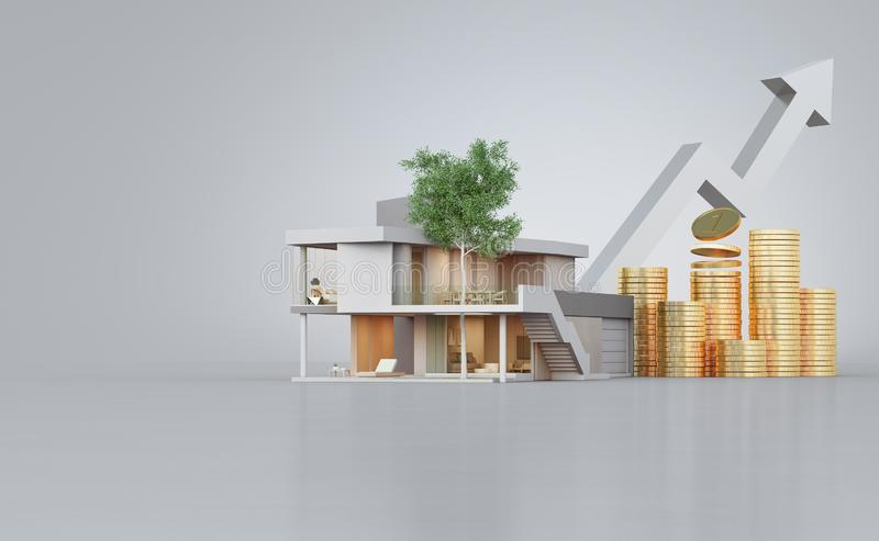 Modernt hus p? konkret golv med vit kopieringsutrymmebakgrund i fastighetf?rs?ljning eller egenskapsinvesteringbegrepp vektor illustrationer