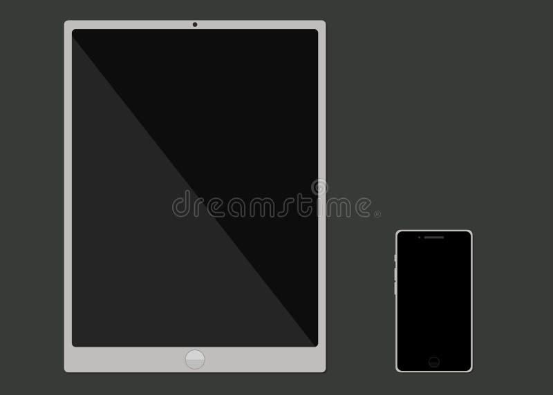 Modernt ila telefonen och minnestavlan Plan design vektor illustrationer