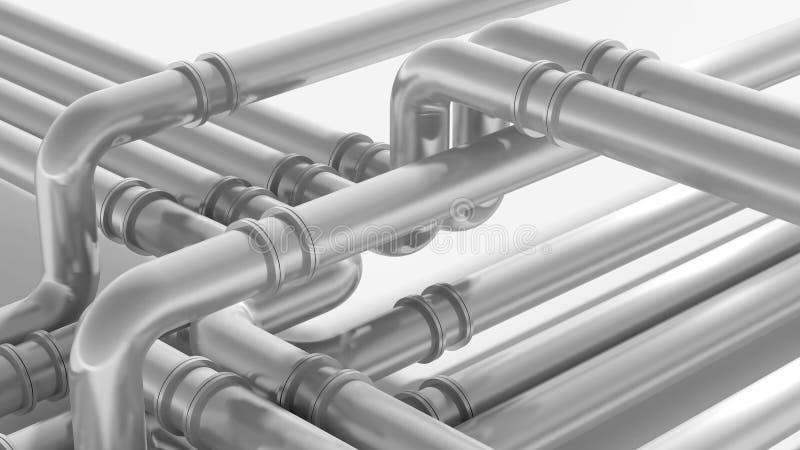 Modernt industriellt metallrörledningfragment vektor illustrationer