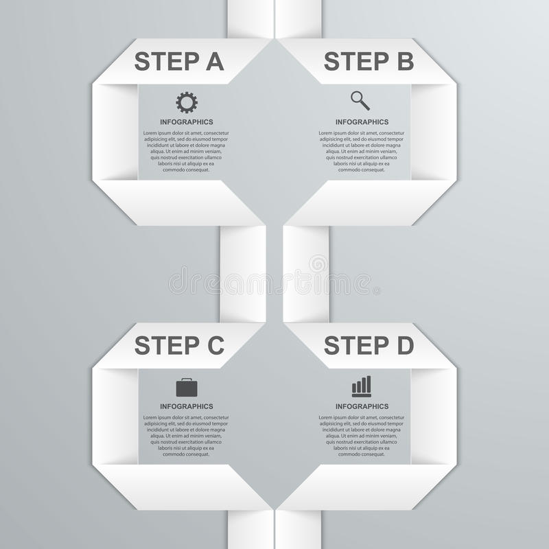 Modernt infographic alternativbaner med vitbokbandet bakgrundsdesignelement fyra vita snowflakes royaltyfri illustrationer