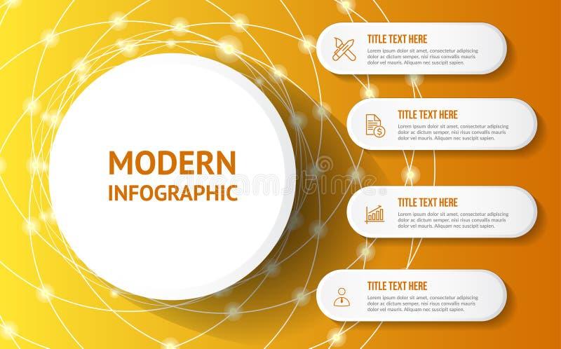 Modernt infographic med gul bakgrund stock illustrationer