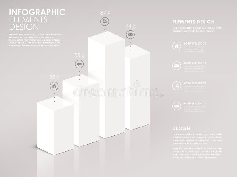 Modernt infographic stångdiagram för vit 3d stock illustrationer