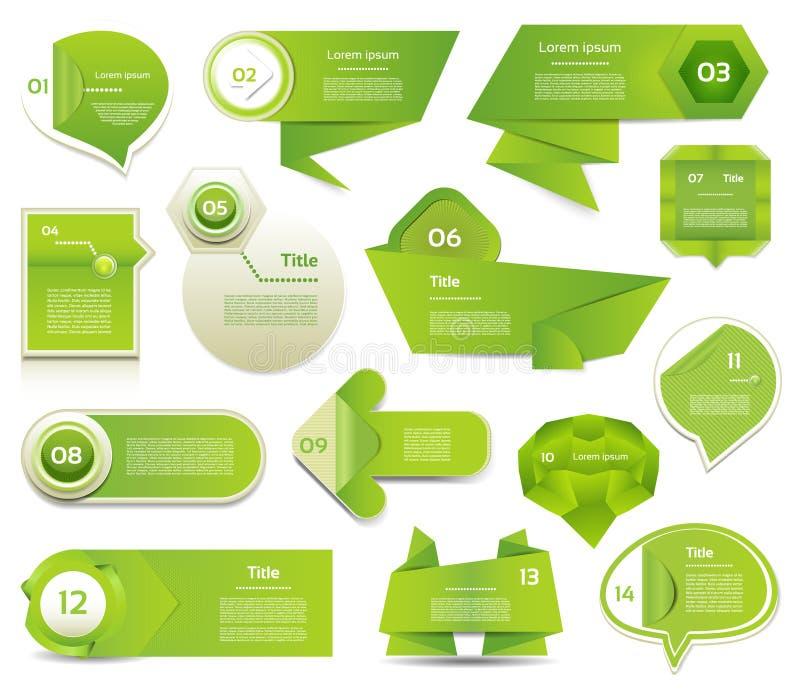 Modernt infographicsalternativbaner. Vektorillustration. användas för workfloworientering, kan diagram nummeralternativ, rengöring stock illustrationer