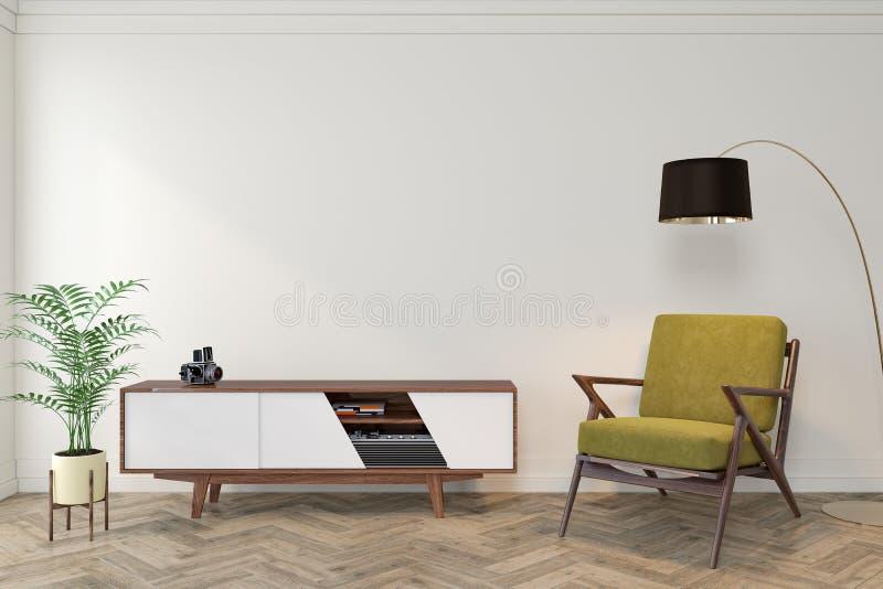 Modernt inre tomt rum för mitt- århundrade med den vita väggen, skänk, konsol, gul vardagsrumstol, fåtölj royaltyfri illustrationer