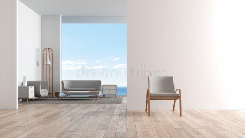 Modernt inre vardagsrumträgolv med soffauppsättningen stol framme av tolkningen för sommar 3d för vardagsrumhavssikt vektor illustrationer