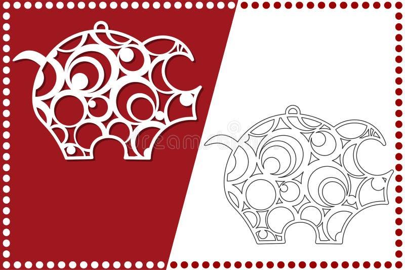 Modernt julsvin Nytt års leksak för laser-klipp också vektor för coreldrawillustration royaltyfri illustrationer