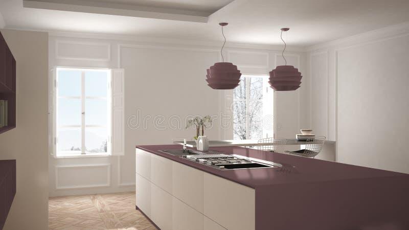 Modernt kök i klassisk inre, ö med stolar och stort fönster två, vit och purpurfärgad röd arkitekturinre arkivfoto