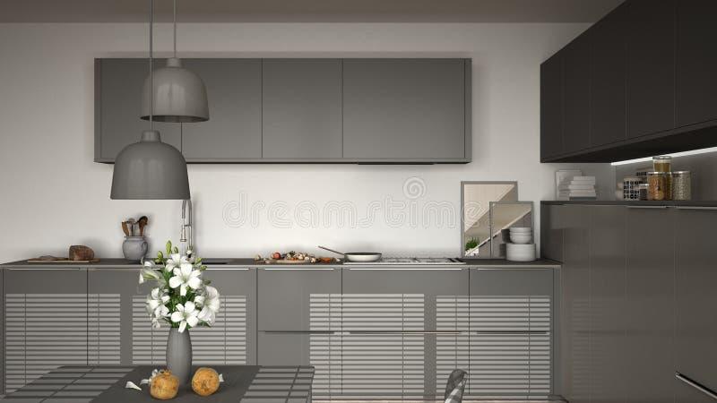 Modernt kök med tabellen och stolar och att laga mat pannan och mat, clos stock illustrationer