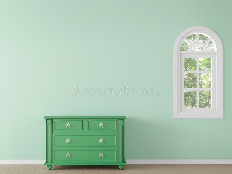 Modernt klassiskt tomt rum med tolkningbild för grön färg 3d royaltyfri illustrationer