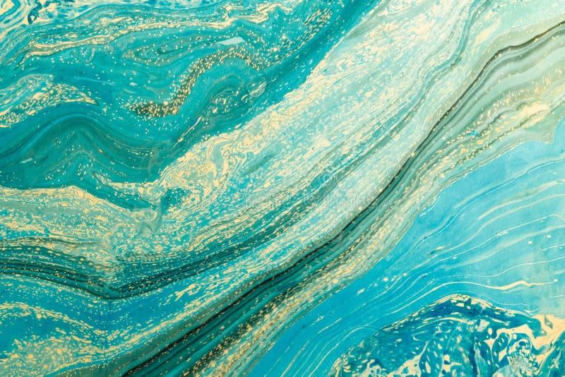Modernt konstverk med abstrakt marmormålning Blandade turkos- och gulingmålarfärger Ovanlig handgjord bakgrund för affischen, kor vektor illustrationer