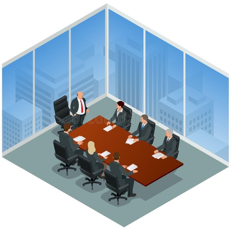 modernt kontor för affärsmöte Högtalare på den affärskonferensen och presentationen Affärsfolk på ett möte stock illustrationer