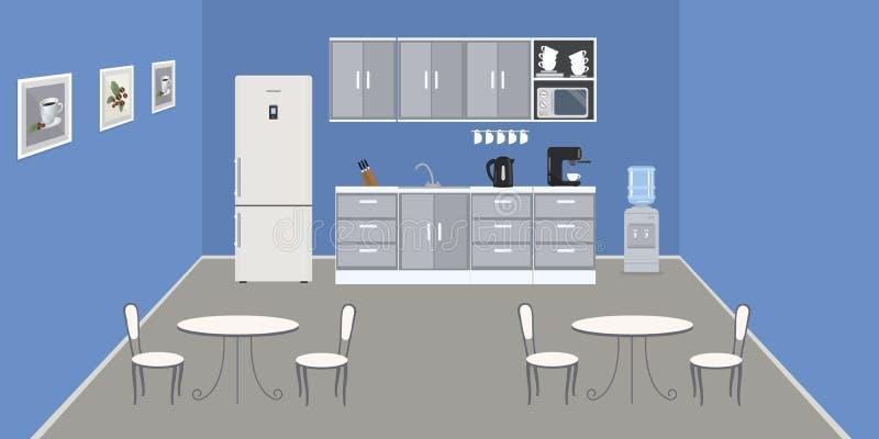 Modernt kontorskök i en blå färg Matsal i kontoret royaltyfri illustrationer