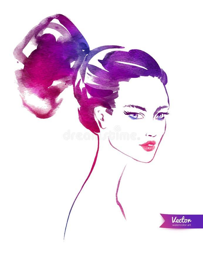 modernt kvinnabarn för frisyr vektor illustrationer