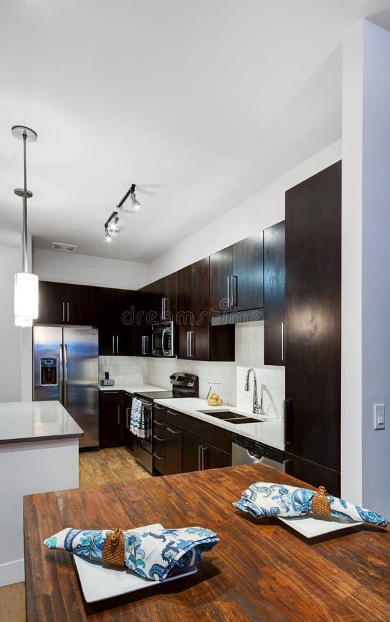 modernt lägenhetkök fotografering för bildbyråer