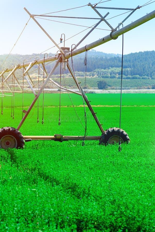 Modernt lantbruk Centralt sv?ngtappbevattningsystem i ett gr?nt f?lt arkivbilder