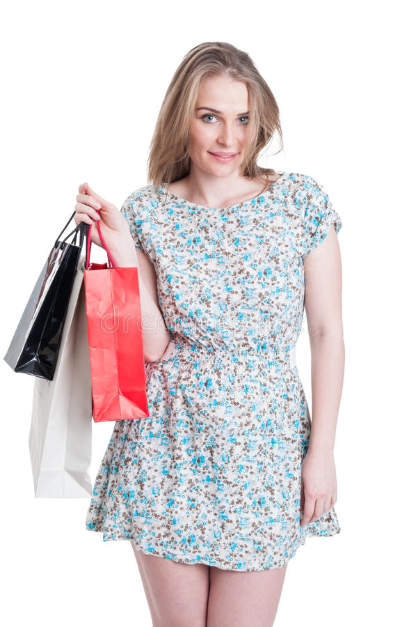 Modernt livsstilbegrepp med den unga shopaholic kvinnan arkivbilder