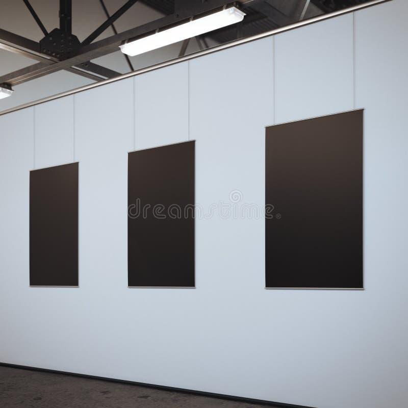 Download Modernt Ljust Galleri Med Tre Tomma Ramar Framförande 3d Arkivfoto - Bild av papper, design: 76703674