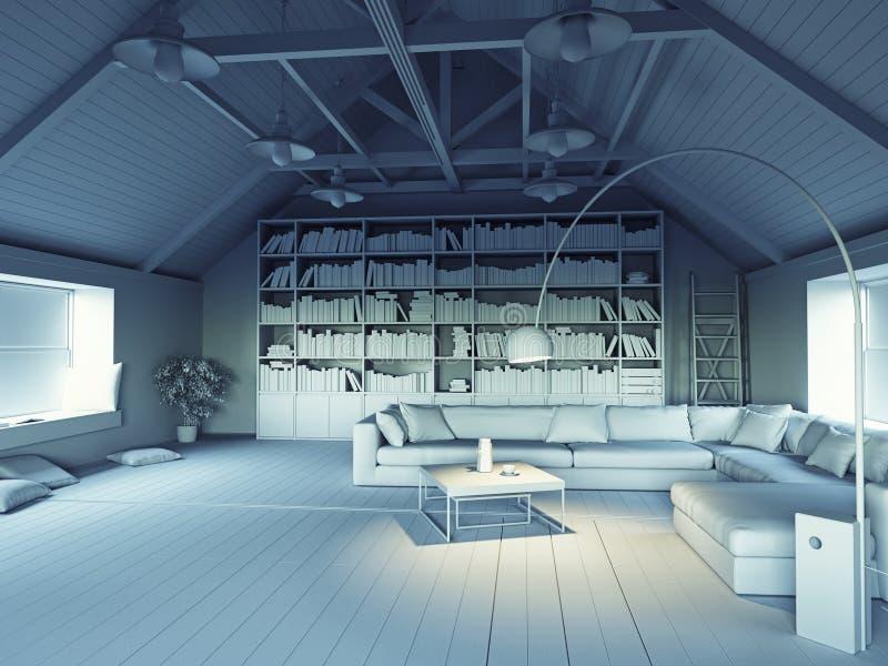 modernt loft stock illustrationer