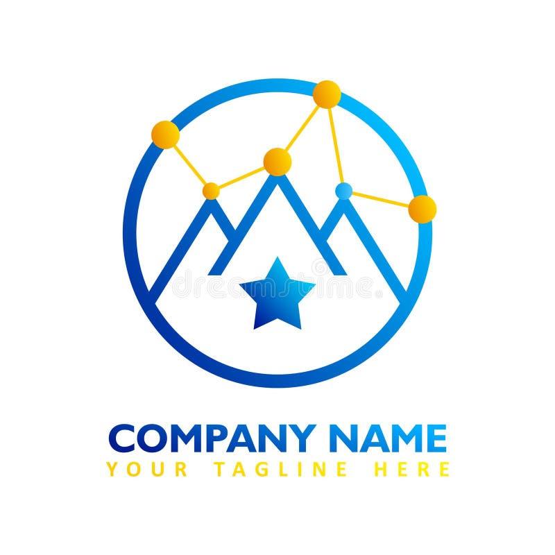 Modernt logobegrepp av det globala nätverket med blå och orange färg vektor illustrationer