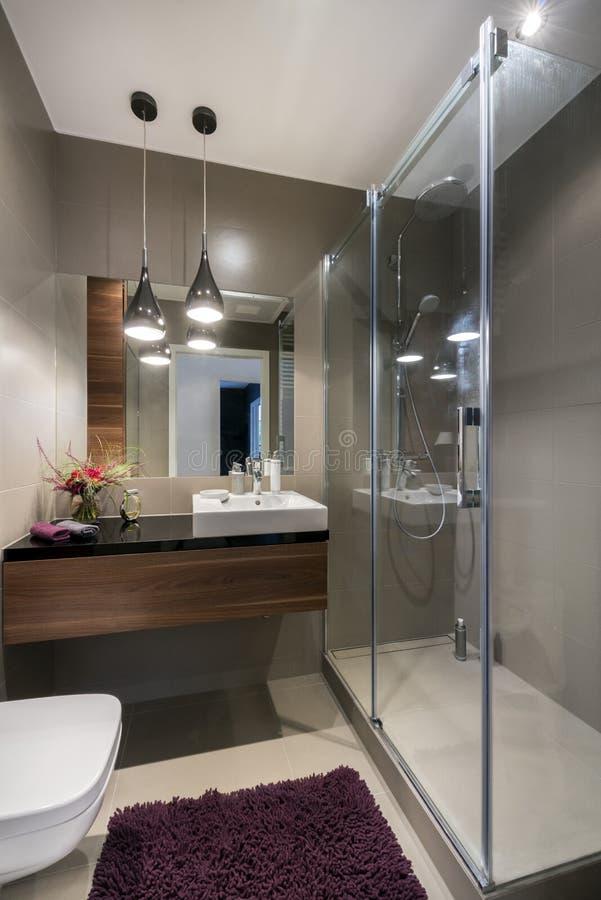 Modernt lyxigt badrum med duschen royaltyfri foto