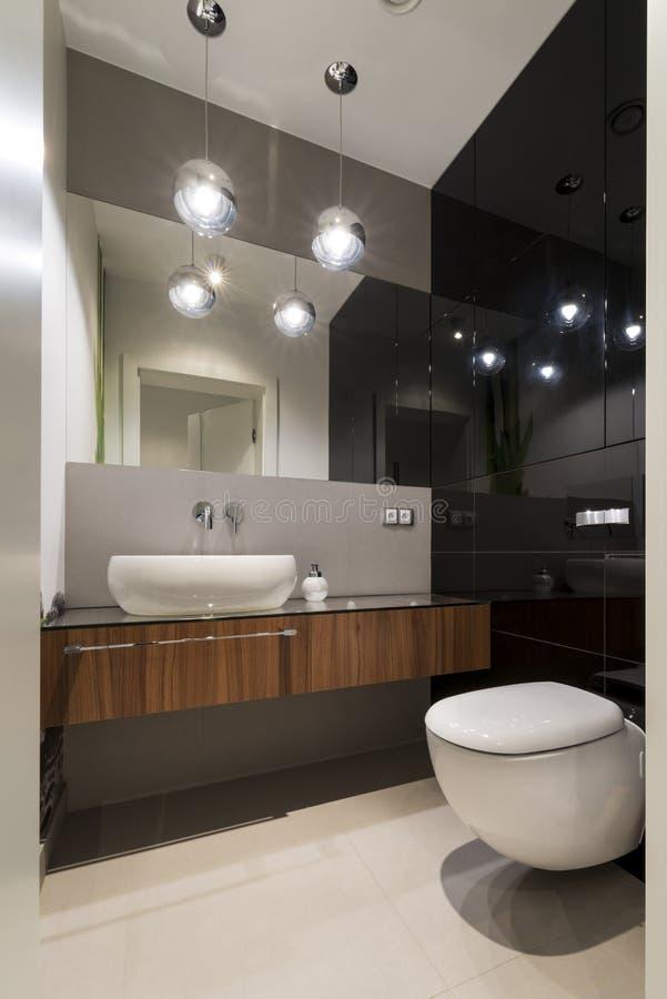 Modernt lyxigt toalettrum royaltyfria foton