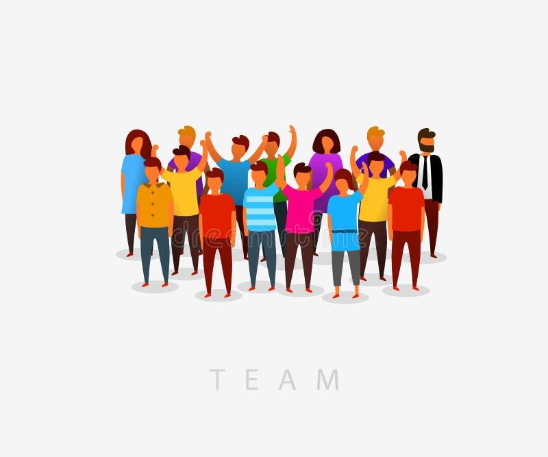 Modernt mångkulturellt samhälle- och lagbegrepp med folk i plan stil Grupp av olikt folk i gemenskap vektor illustrationer
