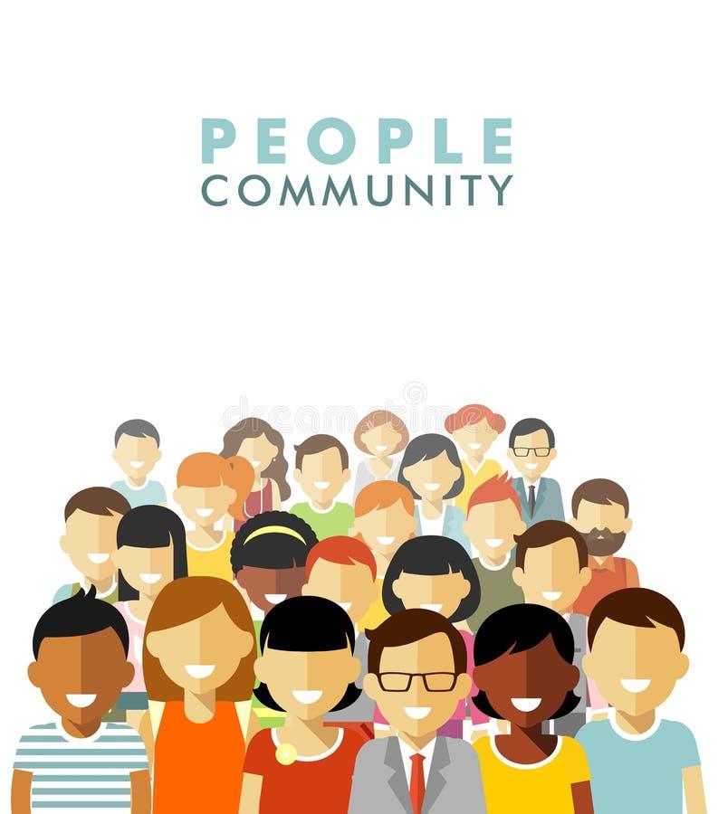 Modernt mångkulturellt samhällebegrepp med folk vektor illustrationer