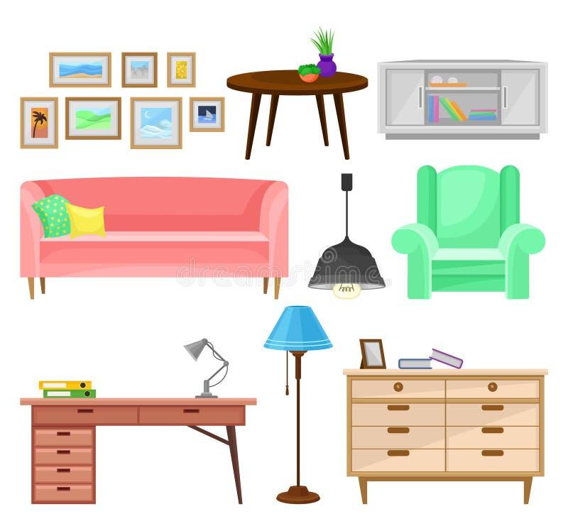 Modernt möblemang för vardagsrumuppsättningen, illustrationer för vektor för beståndsdelar för inredesign på en vit bakgrund stock illustrationer