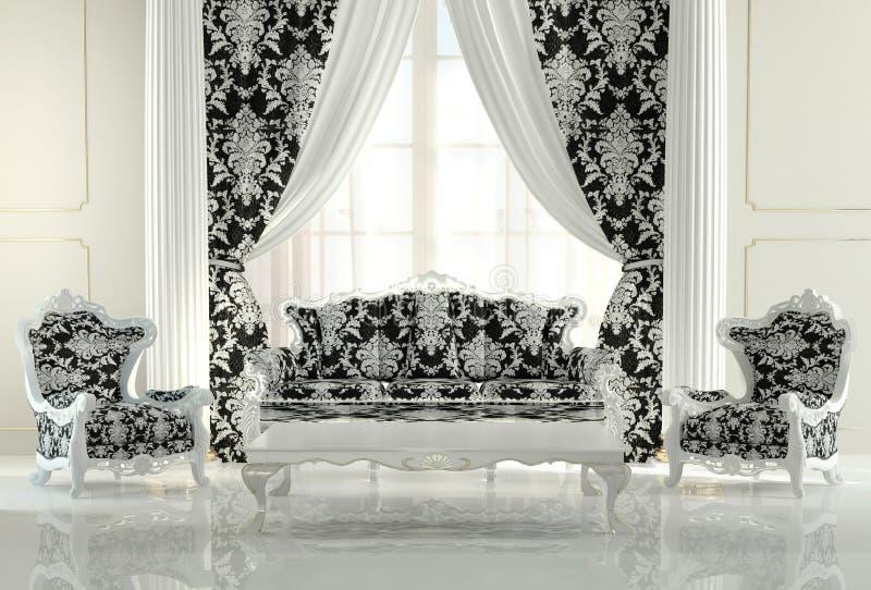 Modernt möblemang i barock design royaltyfri foto