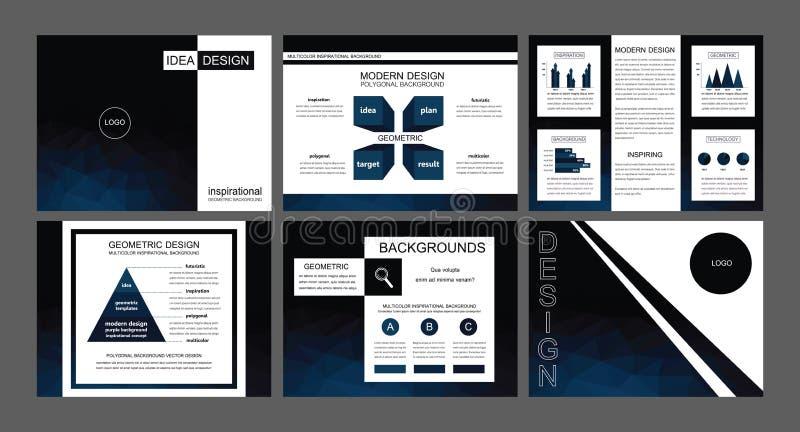 Modernt mörker - blåa vektorer för powerpoint presentationsmallar arkivbilder