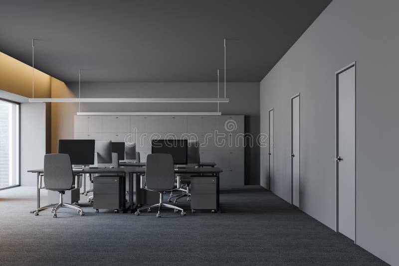 Modernt mörkt kontor som är inre med inget personer och tomt arbetsutrymme 3d framför vektor illustrationer