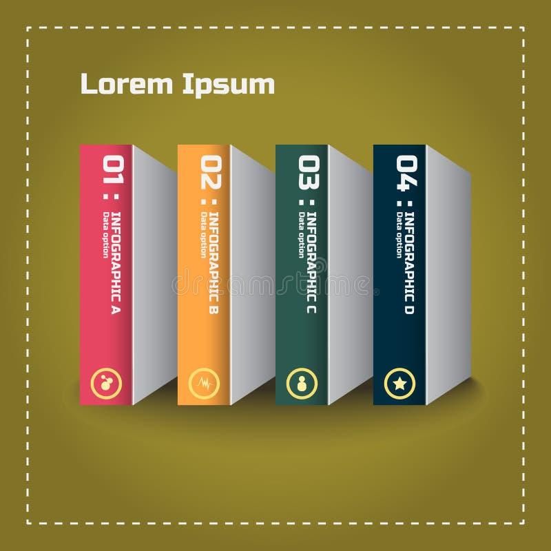 Modernt malldesignbegrepp i stil för bokbunt stock illustrationer