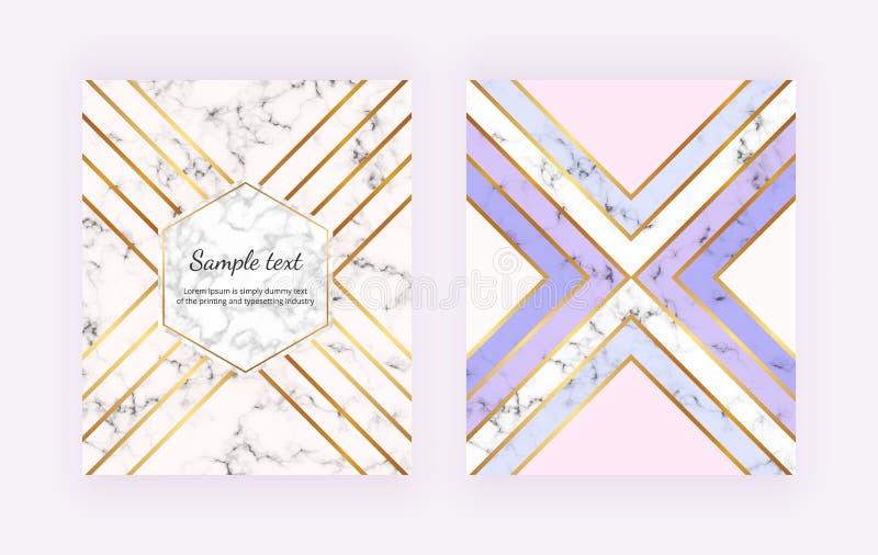 Modernt marmorera bakgrunder med guld- geometriska linjer, triangelformer för pastellfärgade färger Moderiktig räkning för inbjud vektor illustrationer