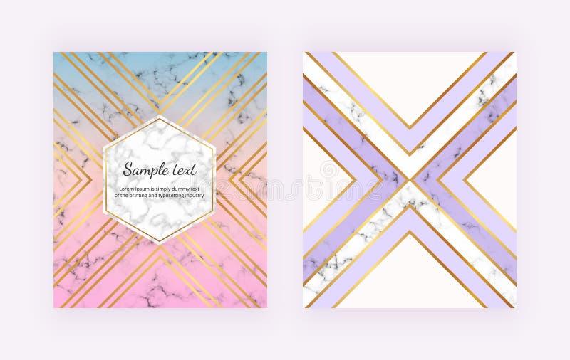Modernt marmorera bakgrunder med guld- geometriska linjer, triangelformer Modern moderäkning för inbjudan, plakat, födelsedag, br vektor illustrationer