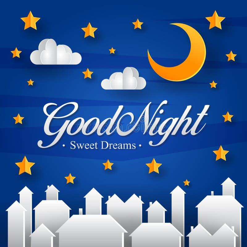 Modernt midnatt Cityscapepapper Art Good Night Greeting Card och banerillustration royaltyfri illustrationer
