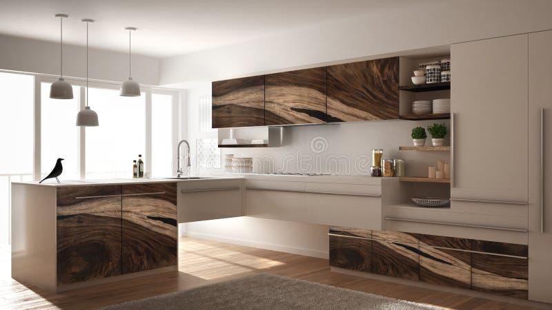 Modernt minimalistic kök med klassiska trämonteringar, matta och det panorama- fönstret, mörker - grå arkitekturinre arkivbilder