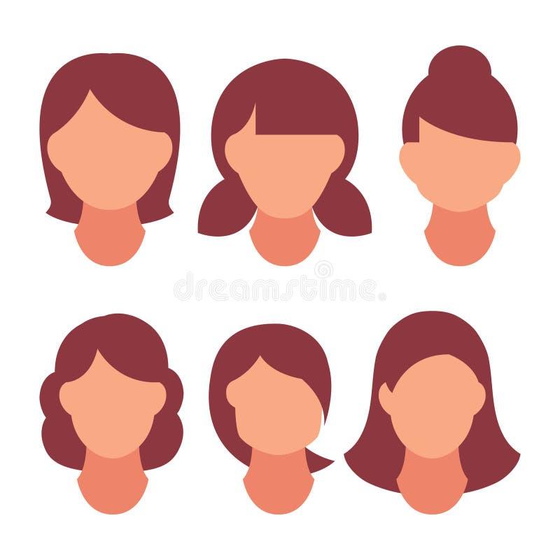 Modernt mode för härlig frisyrkvinna för sortiment långt hår, kort hår, frisyrer för salong för lockigt hår och moderiktigt vektor illustrationer