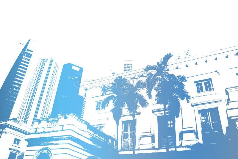 modernt moderiktigt för abstrakt blått stadsliv royaltyfri illustrationer