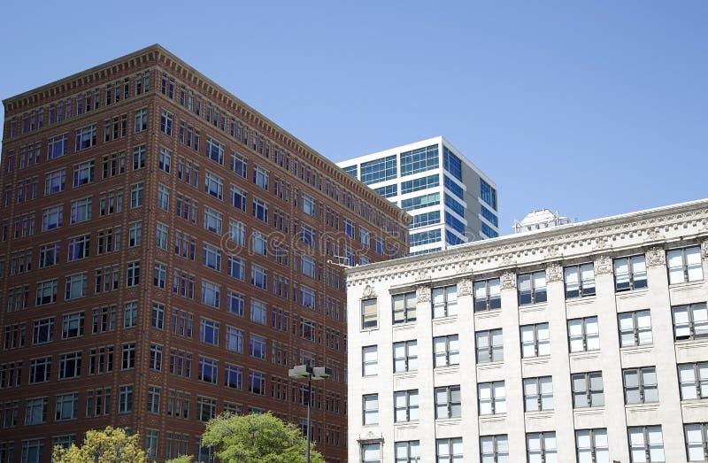 Modernt och historiska byggnader i i stadens centrum Fort Worth arkivfoto
