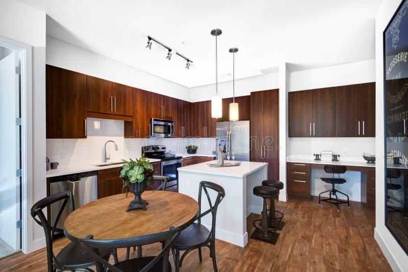 Modernt omdanat kök fotografering för bildbyråer